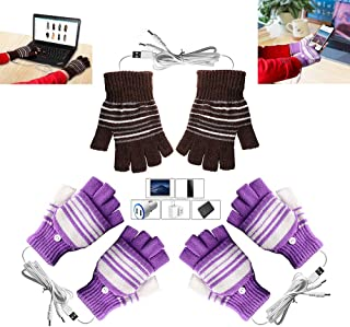 [3 Pack] USB Heated Gloves for Men and Women Mitten, AIKIN USB 2.0 Powered Stripes Heating Pattern Knitting Wool Heated Gl...