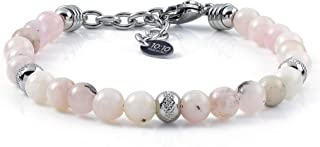 10:10 Bracciale con Pietre Naturali Diaspro Rosa da 6 mm, Beads in Acciaio Inox, Bracciale Molto Resistente Prodotto in It...