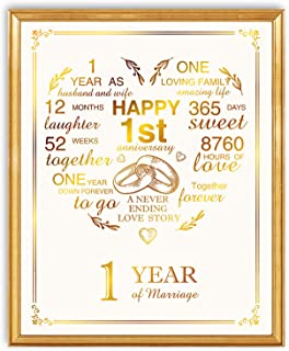 1st Anniversary Real Gold Print, First Year Wedding Anniversary for Women Or Men, 1st Anniversary for Couple, 8 x 10 Unframed