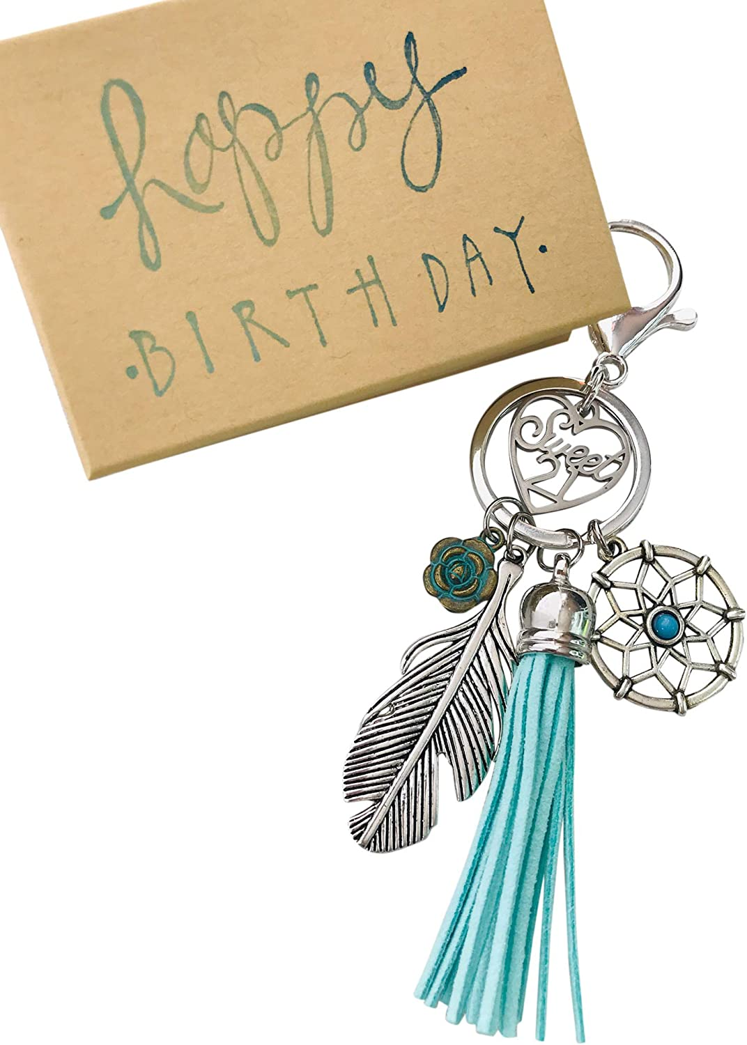 Dream Catcher Girls 21st Birthday Gift for Her Adorable Key Chain, Packaged in Hand Stamped Box