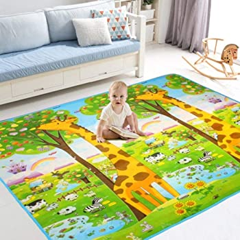 teytoy Baby Play Mat Kids Rug Floor Gyms Playmat Baby Crawling Mat Super Soft Carpet Extra Thick 112 * 151cm 0.6cm Plush Surface Foldable Non-Slip Non-Toxic