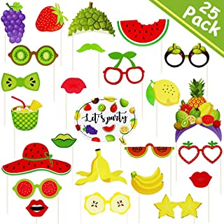 Tutti Frutti Party Decorations – Summer Fruit Photo Booth Props (25Pack) - Hawaiina Luau Swimming Pool Beach Birthday Baby Shower Watermelon, Strawberry, Durian, Pineapple Party Supplies Favors