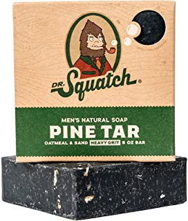 Pine Tar Soap - Mens Soap with Natural Woodsy Scent and Skin Scrub Exfoliation - Black Soap Bar Handmade with Pine Tar, Ol...