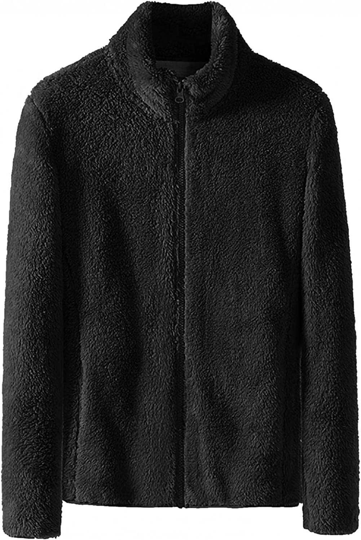 PHSHY Mens Fluffy Fuzzy Sherpa Jacket Fleece Shearling Shaggy Outwear Full Zip Open Front Thermal Cardigans Overcoats