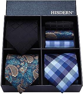 HISDERN Lotto 3 PCS Cravatta da uomo Fazzoletto Seta Classico di matrimonio Cravatte & Pocket Square -Set multipli
