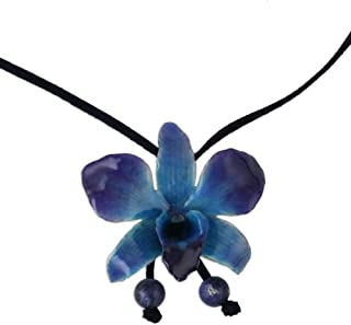 "NOVICA Natural Orchid and Sodalite Long Lariat Necklace, 34.5"", Midnight Blue` with Leather Cord"