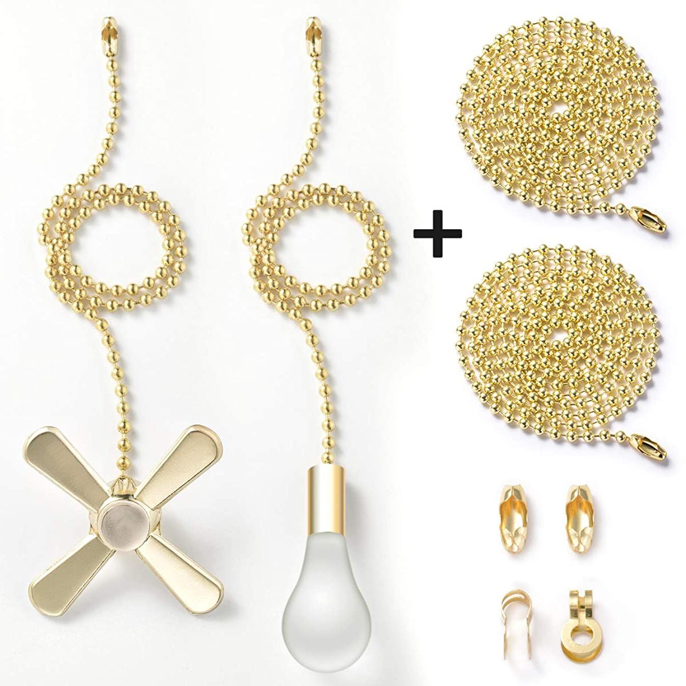 Pull Chain with 35.4 inches Extension, Kinghouse 2 pcs 13.6 inches 3.2mm Beaded Ball Fan Pull Chain Set including Beaded and Pull Loop Connectors, ELegant Holiday Gift Set (Bronze)