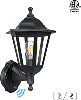 FUDESY Outdoor Wall Lanterns with Dusk to Dawn Sensor,12W Corded-Electric Plastic Photocell Porch Light Fixtures Included Edison Bulbs,P616-E26-PS