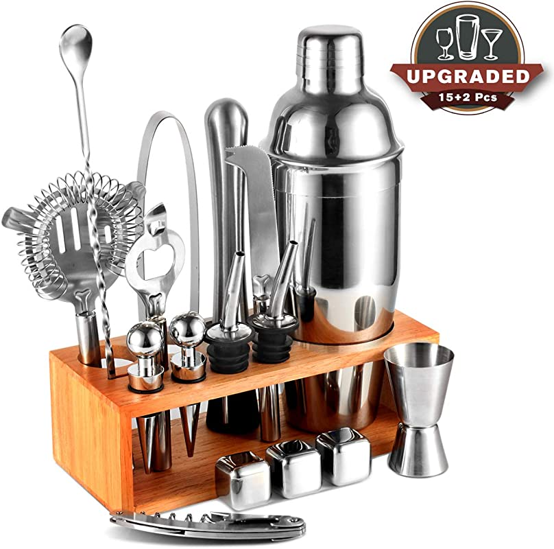 25oz Cocktail Shaker 17pc Bartender Kit With Stand Professional Stainless Steel Bar Tool Set Bartending Kit Perfect For Drink Mixing Experience