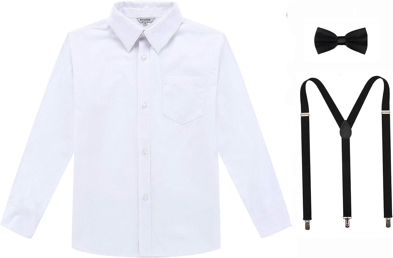 Bienzoe Niños Manga Larga Oxford Camisa Ligas Corbata de moño Paquete