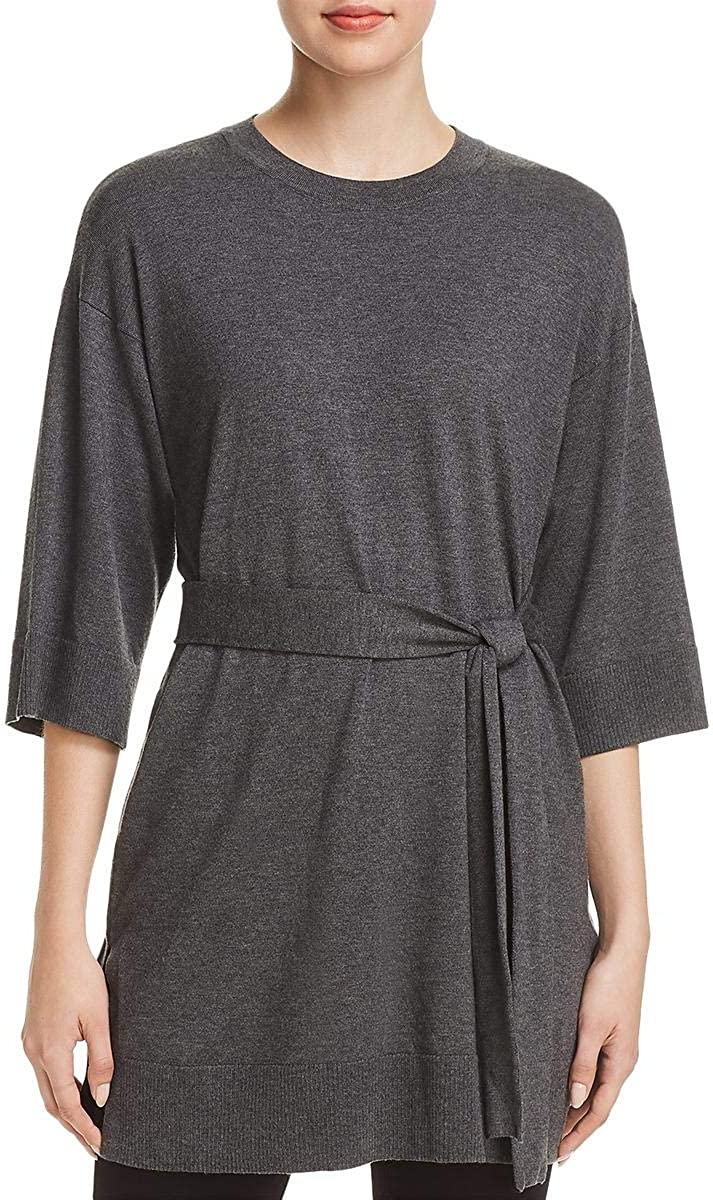 Eileen Fisher Womens Belted 3/4 Sleeves Tunic Sweater