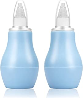 LANEYLI Baby Nasal Aspirator Nose Cleaner Ear Syringe Bulb Syringe Nasal Snot Sucker Remover for Newborn Baby Toddlers BPA Free Cleanable and Reusable Blue Pack of 2