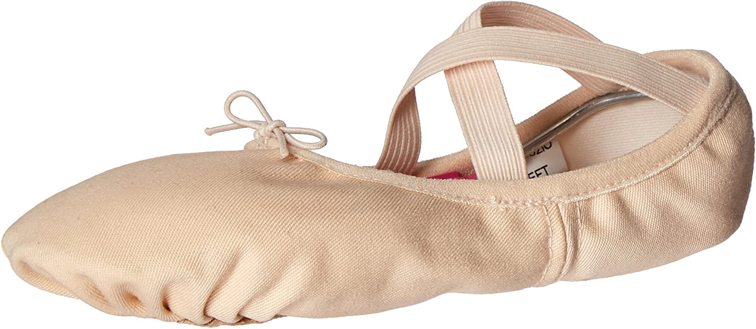 Body Wrappers 246A Childrens' Wendy Canvas Ballet Slipper (Peach