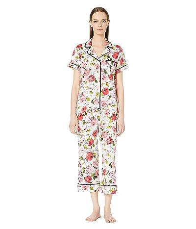 Kate Spade New York Woven Lawn Cropped Pajama Set (Rose Sketch) Women
