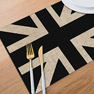 Bghnifs Black and White Union Jack Placemats Table Mats Set of 6 Washable Non Slip Heat Insulation Place Mats Dining Room Kitchen Decor 12 X 18