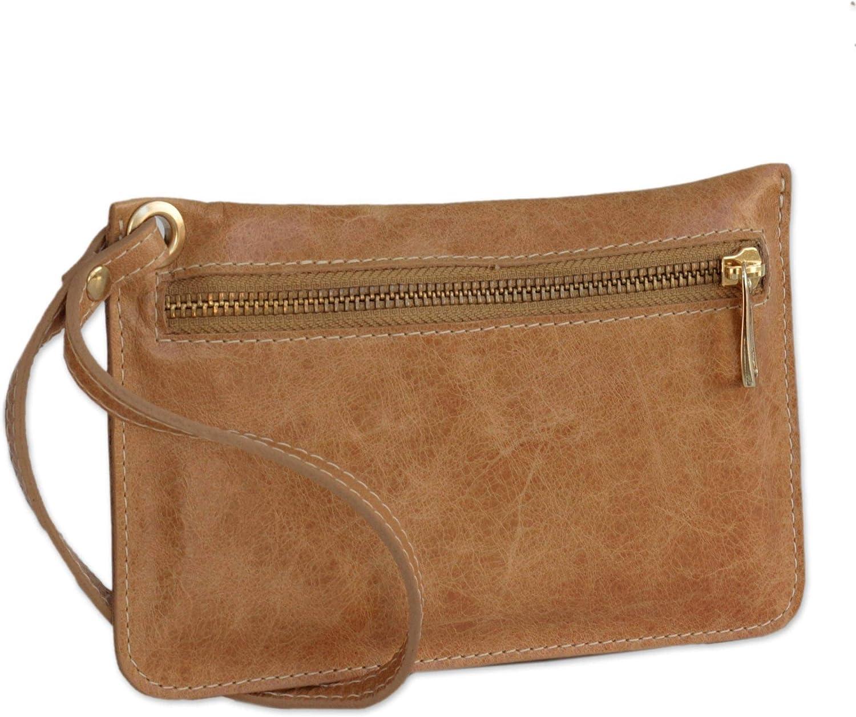 NOVICA Brown Leather Wristlet Handbag, Ginger Sophistication'