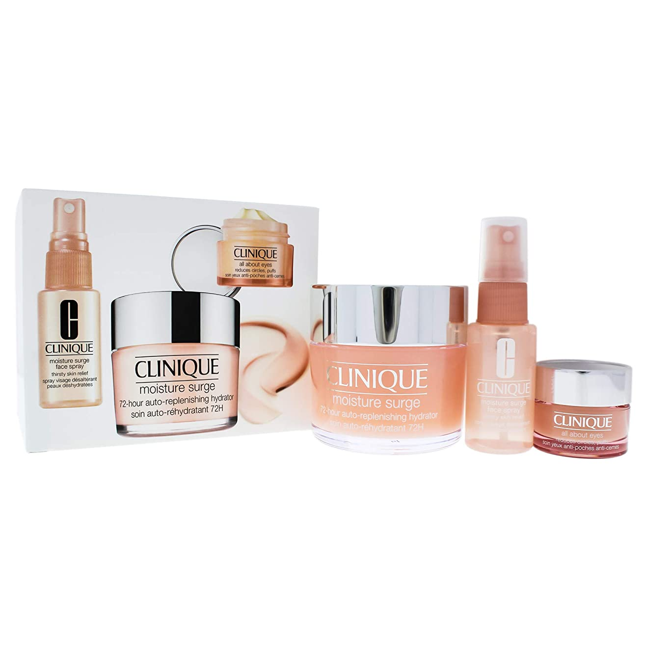 ご注意瞳ピストルクリニーク Moisture Surge Set: Moisture Surge 72-Hr 125ml+ All About Eyes 15ml + Moisture Surge Face Spray Thir 3pcs並行輸入品