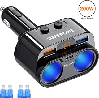 SUPERONE 200W 2-Socket Cigarette Lighter Splitter Power Adapter, USB C Car Charger with 18W Power Delivery 3.0 & Quick Charge 3.0 for iPhone 11/11 Pro/X/8/7/6, Samsung, Google Pixel and More