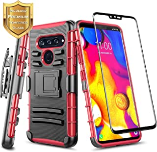 E-Began Case for LG V40 ThinQ (2018 Release) with Tempered Glass Screen Protector (Full Coverage), Belt Clip Holster w/Kic...