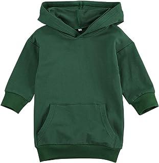 1-5T Kids Toddler Baby Girl Casual Sweatshirt Dress Long Sleeve Hoodies with Kangaroo Pocket Pullover Coat Tops