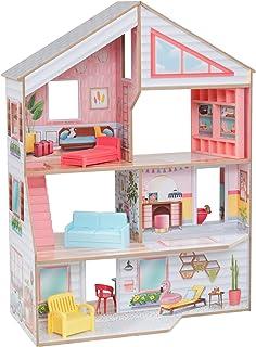 KidKraft 10064 Charlie trädockhus med möbler och tillbehör lekset med 3 leknivåer för dockor upp till 18 cm