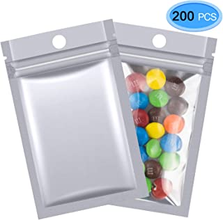 EAONE 200 Pcs Mylar Zip Lock Bags, 7 x 13cm Double-Sided Metallic Resealable Clear Ziplock Foil Bags Food Storage Bags Hanging Storage Pouch (Silver)