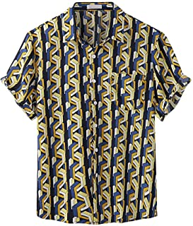 Men's Vintage Stripe Printed Tops Summer Hawaiian Shirts Short Sleeve Button Down Shirts Casual Loose Fit T Shirt