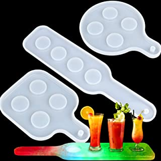 EBANKU 3Pcs Shot Glass Serving Tray Resin Mold, 12 Holes Wine Glass Holder Beer Serving Board Silicone Mold for Party Home...