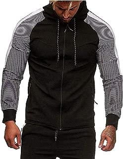 Men's Full Zip Hoodies Casual Patchwork Long Sleeve Zipped Pocket Hooded Sweatshirts Tracksuit by URIBAKE