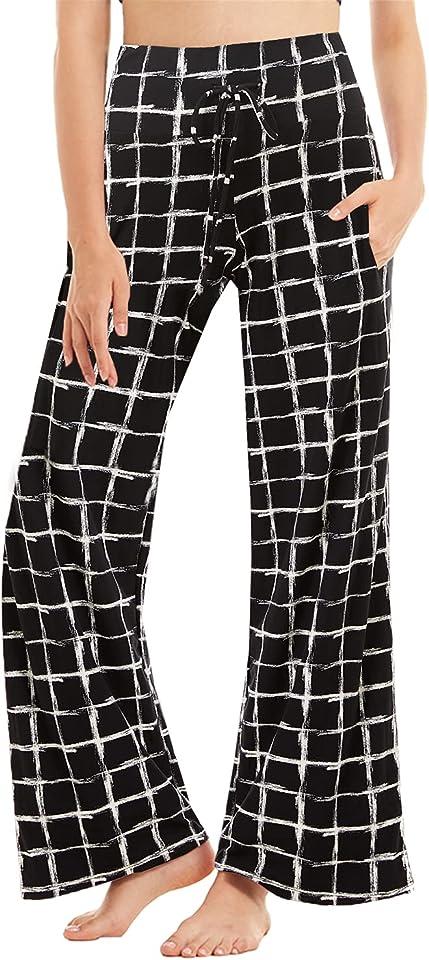 Sommerhose Damen Jogginghose Freizeithose mit Taschen Yoga Hose Breites Bein Kordelzug High Waist Freizeithose Weite Hose