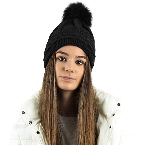 1d9d0b11acf TOSKATOK Ladies Womens Girls Chunky Cable Purl Knit Hat with Detatchable Faux  Fur Pom Pom