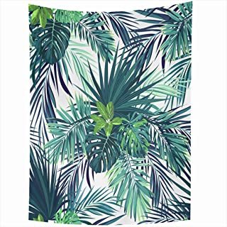 Ahawoso Tapestry 60x90 Inch Tropical Green Drawing Sabal Forest Botanical Exotic Vintage Pattern Hawaiian Palm Abstract Aloha Beach Royal Tapestries Wall Hanging Home Decor Living Room Bedroom Dorm