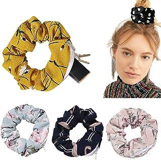Chiffon Floral Hair Scrunchie with zipper pouch hair ties Ropes secret zipper pocket scrunchies Tie Soft Stash Flower Scru...