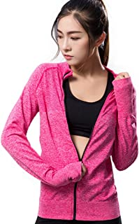 Daiwenwo Stretchy Women's Running Sports Jackets Full Zip Activewear Coat Thumb Holes M0200
