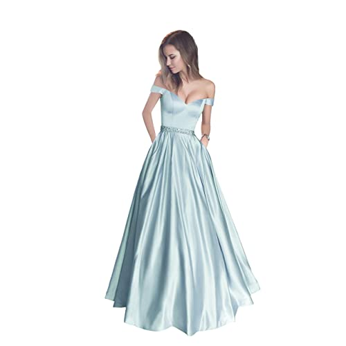 dfd95447b89 Harsuccting Off The Shoulder Beaded Satin Evening Prom Dress with Pocket