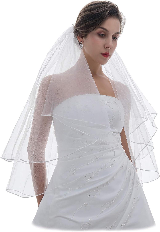 SAMKY 2T 2 Tier Sattin Rattail Edge Bridal Wedding Veil
