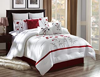 7 Piece Luxury Comforter/Bedding Set with Cushion, Shams, and Bedskirt (Queen, White with Red Flower)