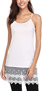 Women's Lace Extender Trimmed Tank Tops Adjust Camisoles Layering Dress
