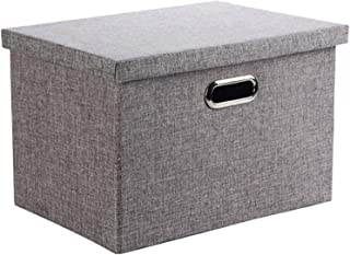 Wintao Boîte de Rangement, Pliable en Tissu de Lin Vêtements Paniers de Rangement avec Couvercle, Gris, 3 Tailles-L