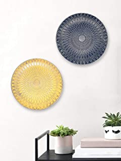 Art Street Beige & Blue Color Set of 2 MDF Decorative Wall Plates,Wall Decor Plates for Home & Office-Size-7.5x7.5 Inches