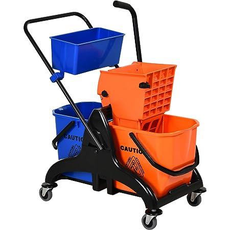 Chariot de lavage chariot de nettoyage professionnel presse à mâchoire 2 seaux + rangement orange bleu