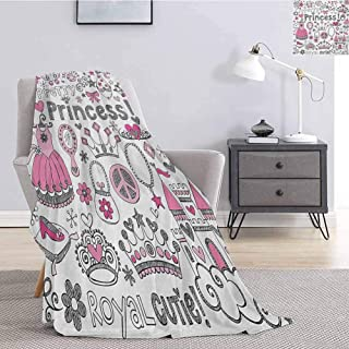Luoiaax Princess Plush Blanket for Bed Couch Fairy Tale Princess Tiara Crown Notebook Doodle Design Sketch Illustration Lightweight Life Comfort Blanket W70 x L84 Inch Grey Pink White