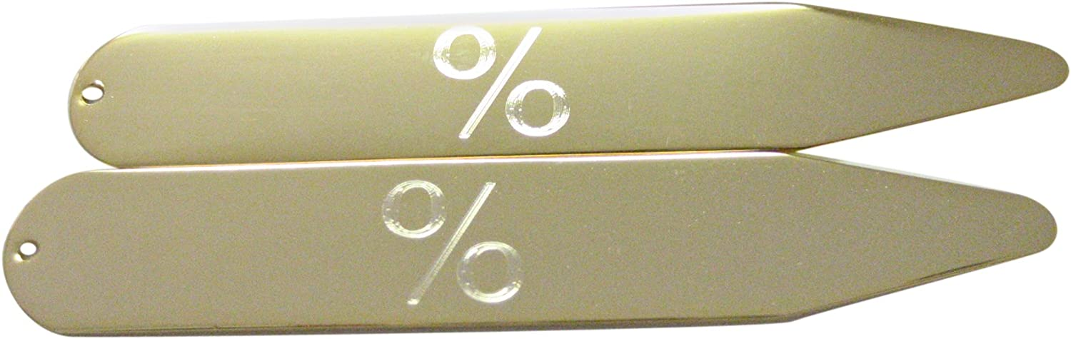 Gold Toned Etched Mathematical Percent Sign Collar Stays