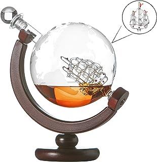polar-effekt Whiskykaraffe Globus Segelschiff mit gravierter Weltkarte, Dekanter mit Holzständer 850ml, Whisky Flasche mit luftdichtem Verschluss, für Cognac Rum Gin Scotch Wodka, Geschenk für Männer