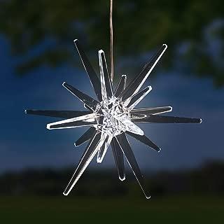 Exhart Solar Star Garden Light– Star Lantern Hanging Ornament w/ Solar Panel, Acrylic Outdoor Crystal Décor, Garden Décor, or Christmas Decorations