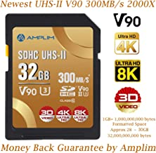 32GB UHS-II V90 SDXC SD Card - Amplim Blazing Fast 300MB/s (2000X) UHSII U3 Extreme High Speed 32 GB SD XC Memory Card for 4K 8K UHD Video Camera Camcorder. 32G TF Flash Storage – New Sept 2019