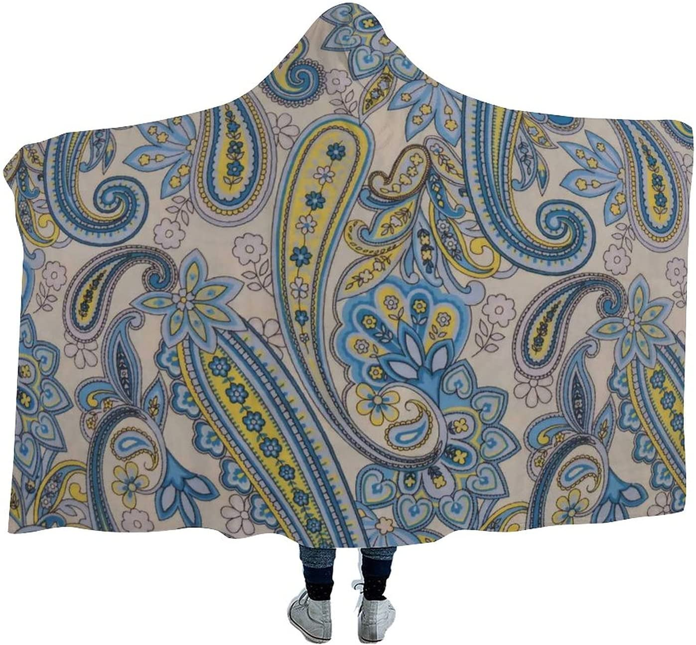 Paisley Pattern Wearable Al sold out. Velvet Hooded Super Blanket Beauty products Throw Soft