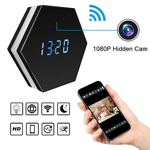 Wi-Fi Cámara espía Oculta inalámbrica Reloj Despertador - Bysameyee HD 1080P Grabadora de Video