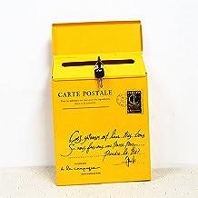 Iron Lock Letter Box Vintage Wall Mount Mailbox Mail Postbrief Krantendoos (Kleur: Geel)