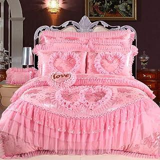 Geekcook Juegos de Fundas para edredón,Pink Lace Princess Wedding Juego de Cama King Queen Size Seda de algodón de Seda Juego de Cama Funda nórdica Colcha Funda de Almohada-Rosado_Queen Size 4 Piezas